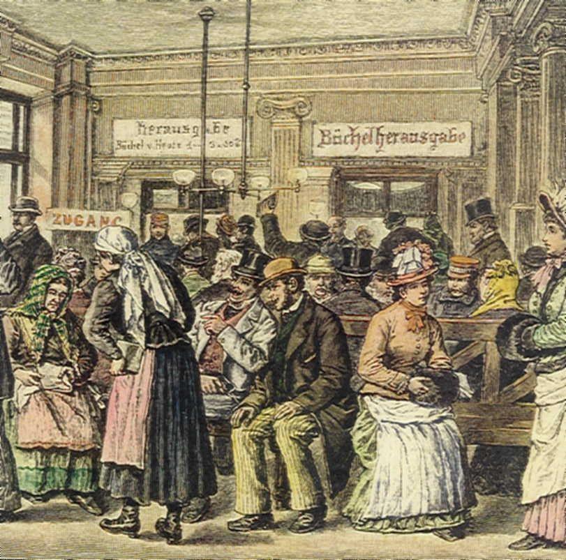 """Die ersten Sparkassen waren Vereinssparkassen und wurden von sogenannten """"Menschenfreunden"""" gegründet, das waren vor allem Adelige, Geistliche, hohe Verwaltungsbeamte, aber auch Ärzte, Apotheker oder Berufsvertretungen. Die Erste initiierte weitere Sparkassengründungen nicht nur in Österreich, sondern auch in den Kronländern der Monarchie. Sparkassen waren bis in die 1850er Jahre in den Kronländern neben den Bankiers die einzigen Kreditinstitute."""